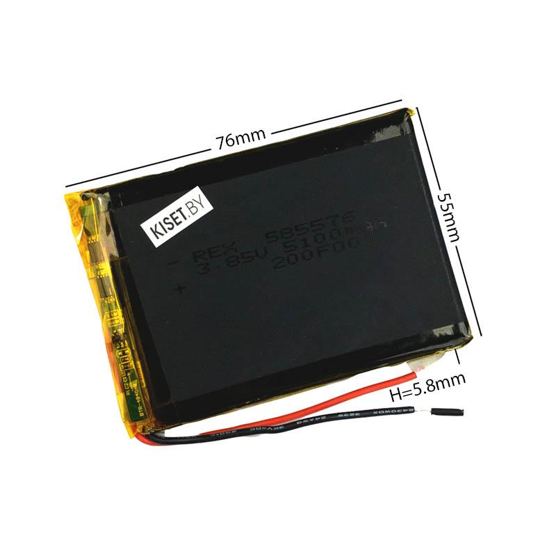 Аккумулятор Li-Pol со шлейфом 3pin 585576 5100mAh 3.85V