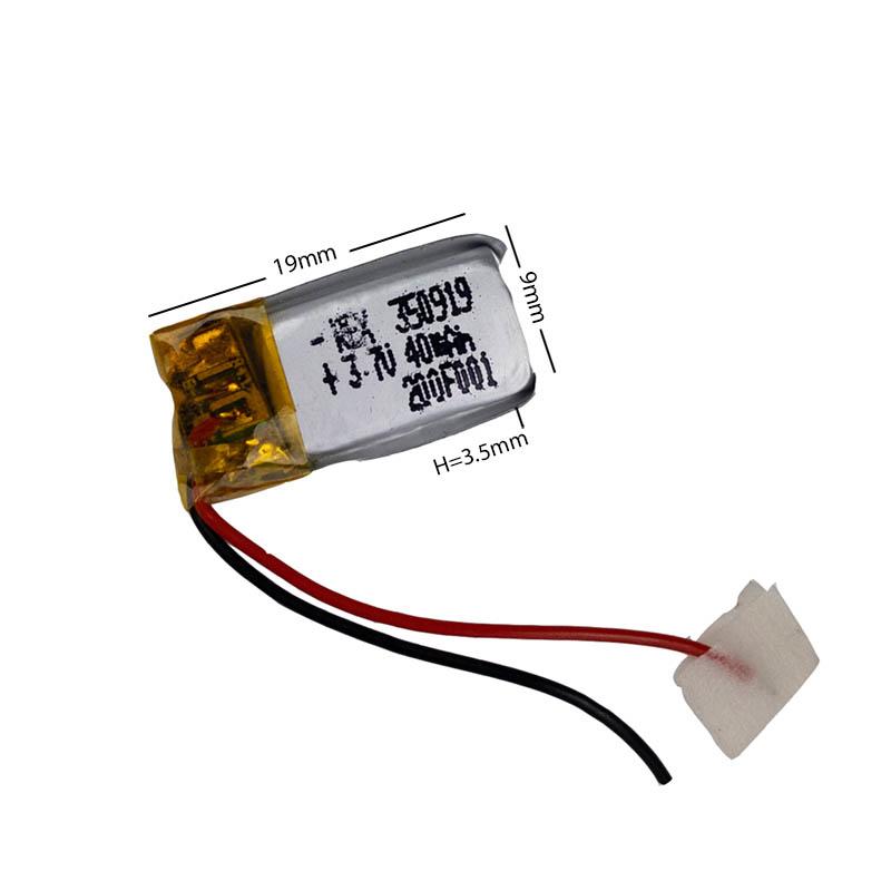 Аккумулятор Li-Pol со шлейфом 2pin 350919 40mAh 3.7V