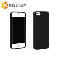 Силиконовый чехол матовый для Apple iPhone 5 / 5s / SE, черный