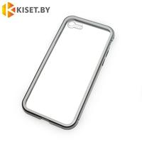 Магнитный чехол-бампер 360° для Apple iPhone 7 / 8 / SE (2020) серебристый