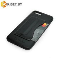 Чехол кожа-PU с карманом для карточки и подставкой для iPhone 7 Plus / 8 Plus черный