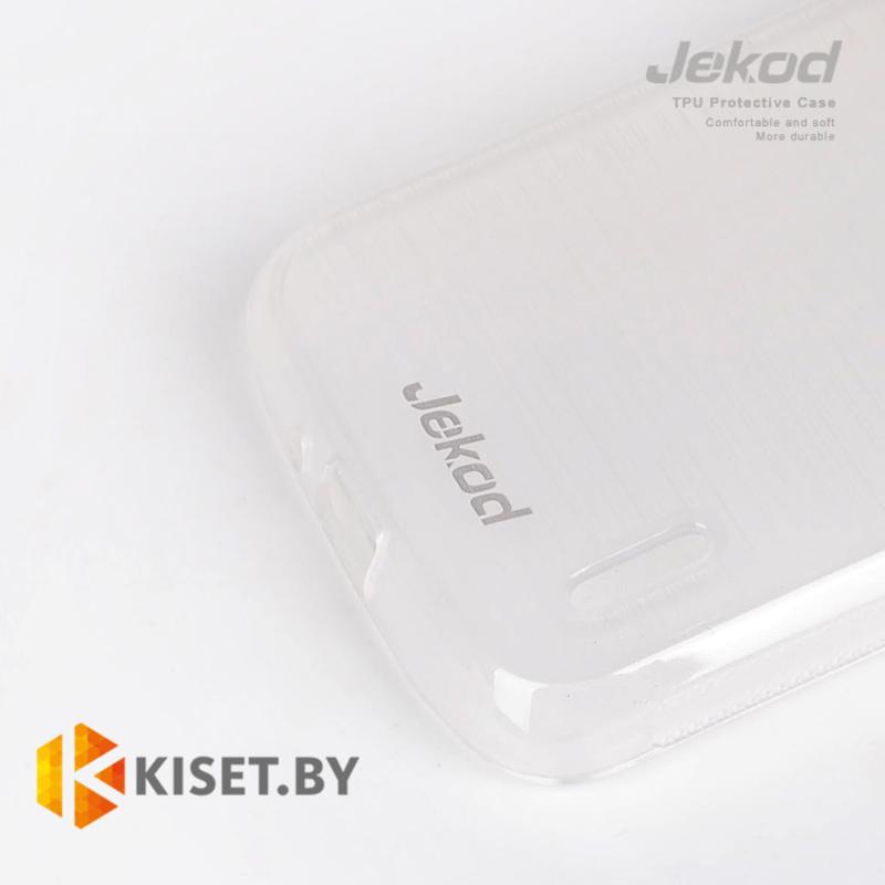Силиконовый чехол Jekod с защитной пленкой для Alcatel One Touch 3035А, белый
