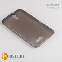 Силиконовый чехол Jekod с защитной пленкой для Alcatel One Touch T'Pop 4010D, черный