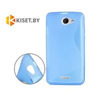 Силиконовый чехол для HTC Desire 516, голубой с волной