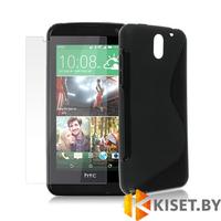 Силиконовый чехол для HTC Desire 610, черный с волной