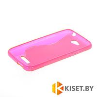 Силиконовый чехол для HTC Desire 616, розовый с волной