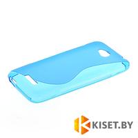 Силиконовый чехол для HTC Desire 616, голубой с волной