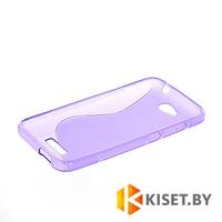 Силиконовый чехол для HTC Desire 616, фиолетовый с волной
