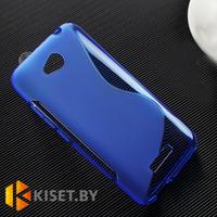 Силиконовый чехол для HTC Desire 616, синий с волной