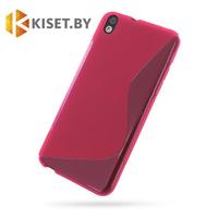 Силиконовый чехол для HTC Desire 816, розовый с волной