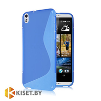 Силиконовый чехол для HTC Desire 816, голубой с волной