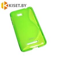 Силиконовый чехол для HTC Desire 616, зелёный с волной