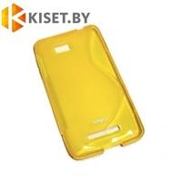 Силиконовый чехол для HTC Desire 616, желтый с волной