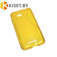 Силиконовый чехол для HTC Desire 816, желтый с волной