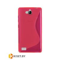 Силиконовый чехол для Huawei Honor 3C, розовый с волной