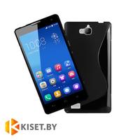 Силиконовый чехол для Huawei Honor 3C, черный с волной