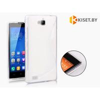 Силиконовый чехол для Huawei Honor 3C, белый с волной