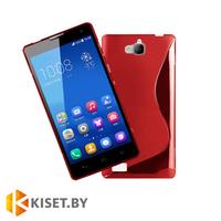 Силиконовый чехол для Huawei Honor 3C, красный с волной