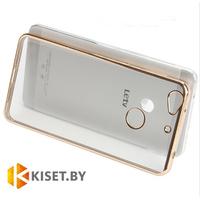 Силиконовый чехол для LeEco (LeTV) Le 1S (X500), прозрачный c золотым бампером