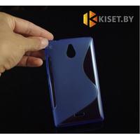 Силиконовый чехол для Nokia X2, синий с волной