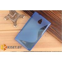 Силиконовый чехол для Nokia X2, голубой с волной