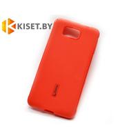 Силиконовый чехол Cherry с защитной пленкой для Samsung Galaxy Alpha (G850F), красный