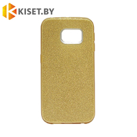 Силиконовый чехол Crystal Shine для Samsung Galaxy S6 edge (G925), золотой