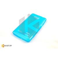 Силиконовый чехол для Samsung Galaxy J1 (J100H), голубой с волной