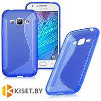 Силиконовый чехол для Samsung Galaxy J1 (J100H), синий с волной