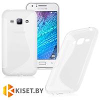 Силиконовый чехол для Samsung Galaxy J1 (J100H), прозрачный с волной