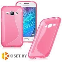 Силиконовый чехол для Samsung Galaxy J1 (J100H), розовый с волной