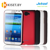 Пластиковый бампер Jekod и защитная пленка для Samsung Galaxy Note 2 (N7100), малиновый