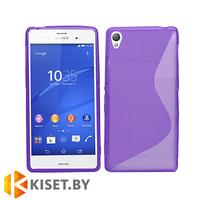 Силиконовый чехол для Sony Xperia Z3, фиолетовый с волной