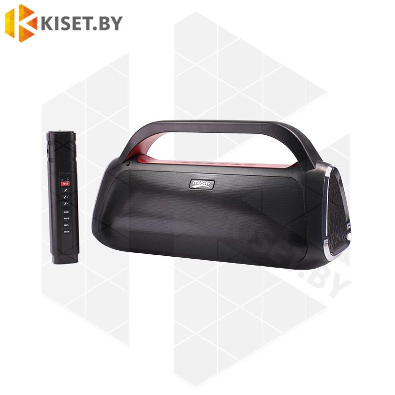 Портативная беспроводная колонка MUSKY DY-36 с караоке микрофоном черный