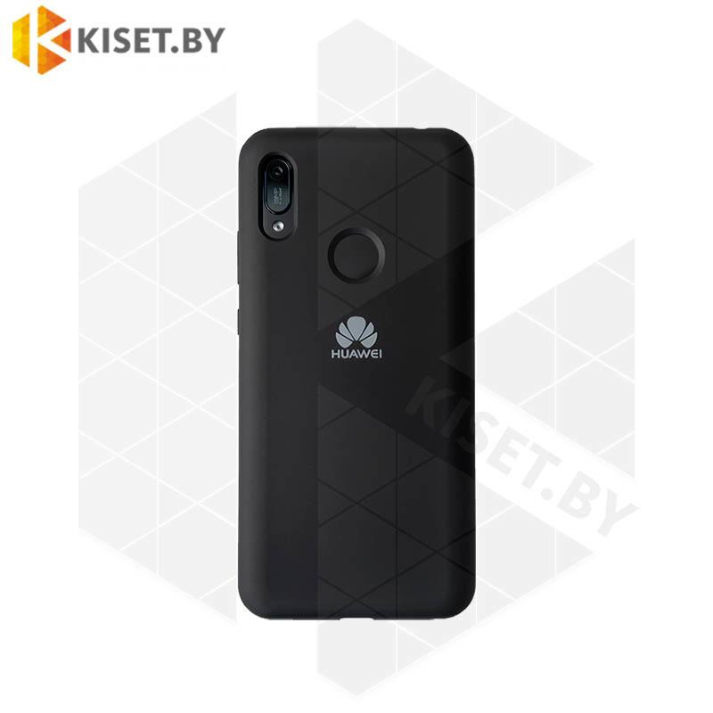 Soft-touch бампер Silicone Cover для Huawei P40 Lite E / Y7p черный с закрытым низом