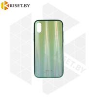 Чехол-бампер Aurora Glass для Apple iPhone X / Xs зеленый