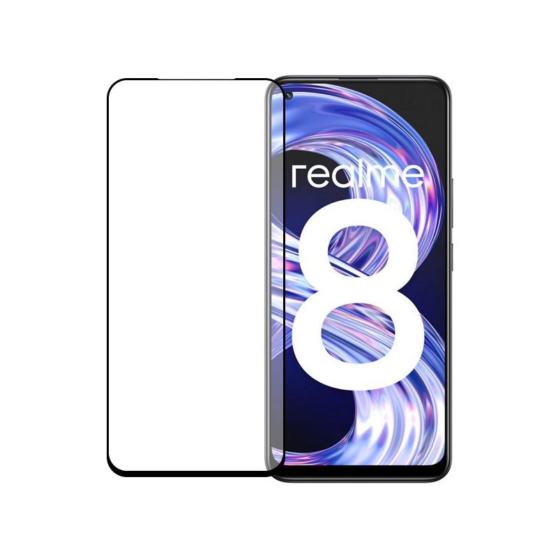 Защитное стекло полной проклейки Full glue для Realme 8 черный