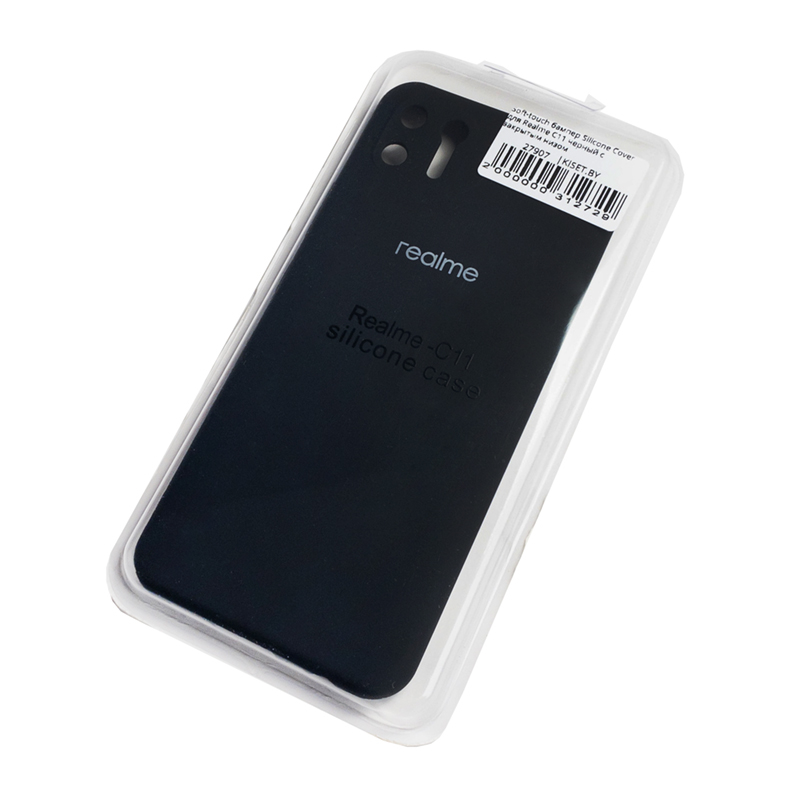Soft-touch бампер Silicone Cover для Realme C11 черный с закрытым низом