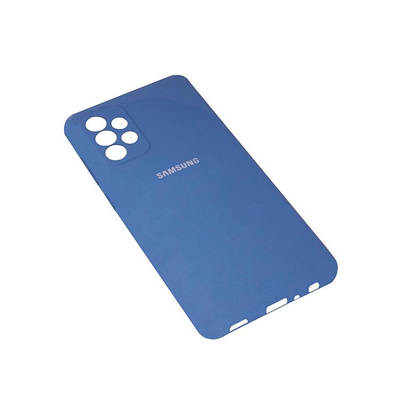 Soft-touch бампер Silicone Cover для Samsung Galaxy A72 синий с закрытым низом