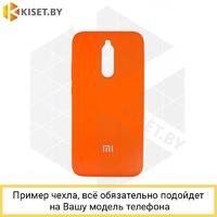 Soft-touch бампер Silicone Cover для Samsung Galaxy M51 оранжевый с закрытым низом